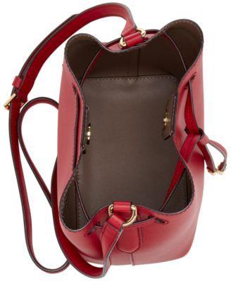 7628e12ca5 Lauren Ralph Lauren Dryden Debby Ii Mini Leather Drawstring Bag - Crimson/ Truffle
