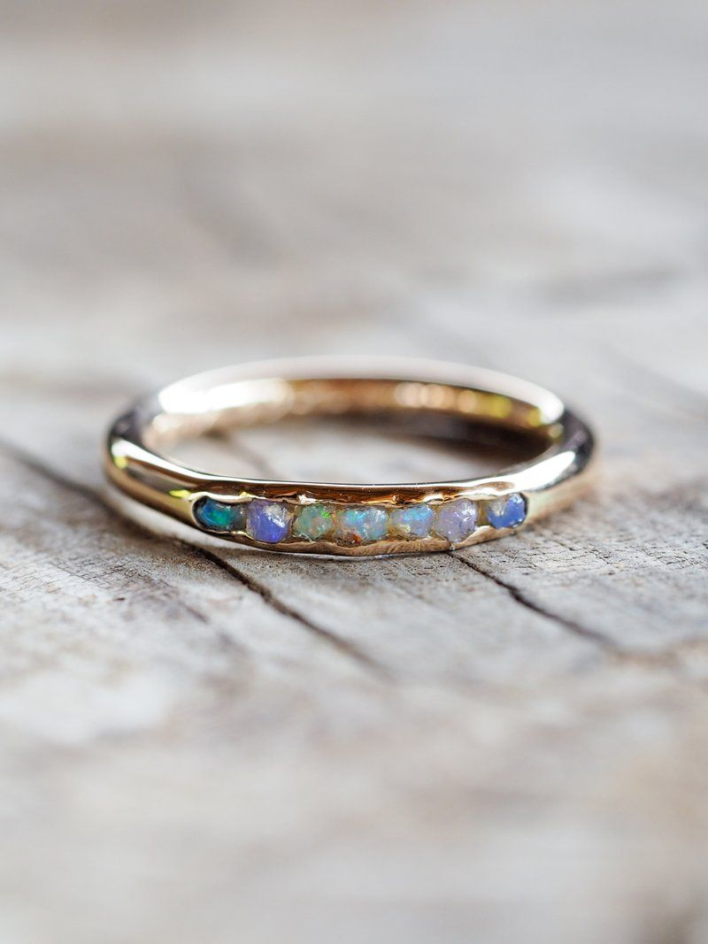 Rough Opal Ring with Hidden Gems in Gold - Gardens of the Sun | Ethical Jewelry