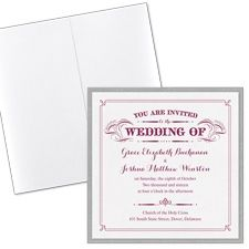 White Shimmer Square Layered Invitation with Pocket