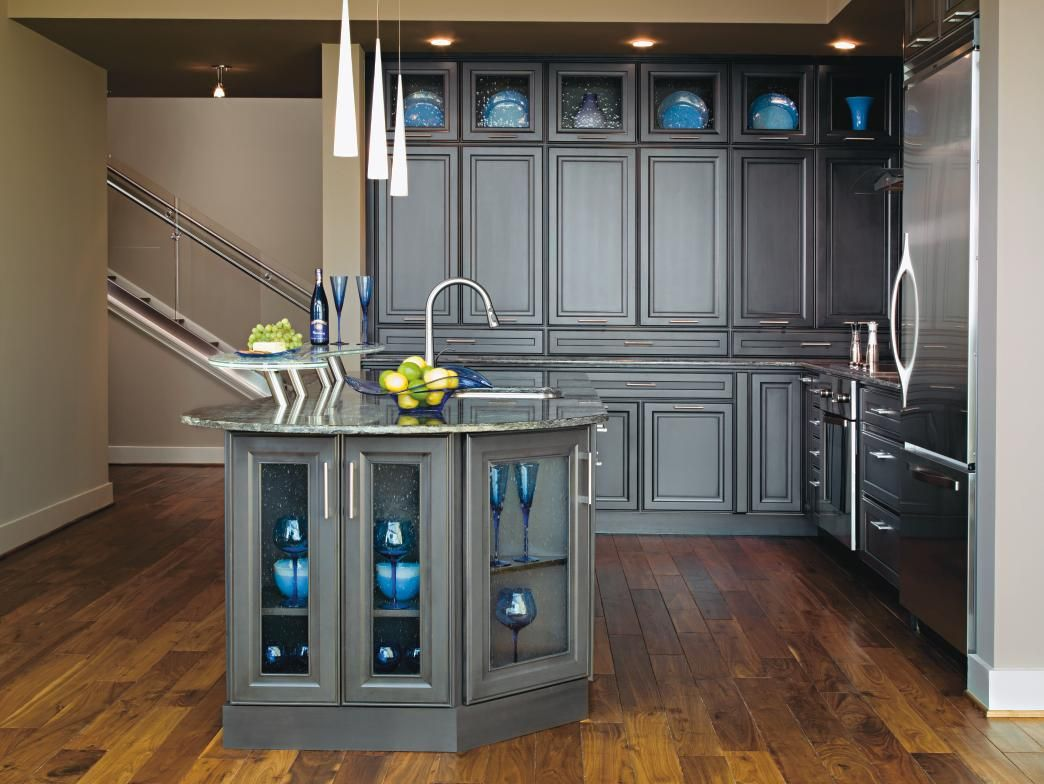 Gray Is Here To Stay Make A Statement In Your Kitchen With Decora Leyden Style Cabinets In Cobblestone Future Kitchen Design Cabinet Door Styles Grey Kitchens