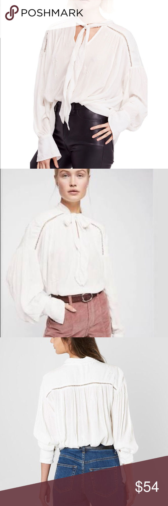 eee46e03b50a52 NWT Free People Wishful Moments Tie Neck Top L Free People modern boho glam  in this