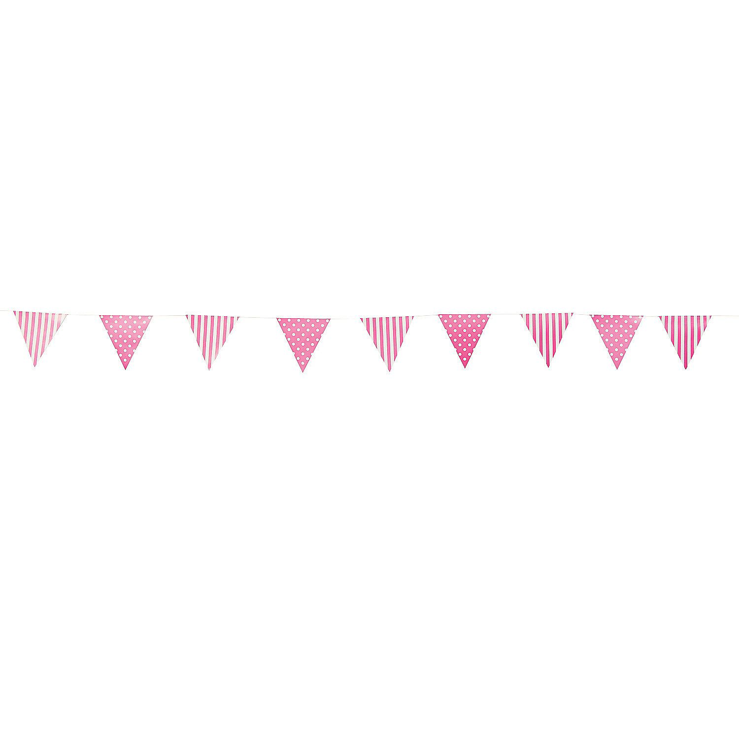 Candy pink striped u polka dot pennant banner orientaltrading