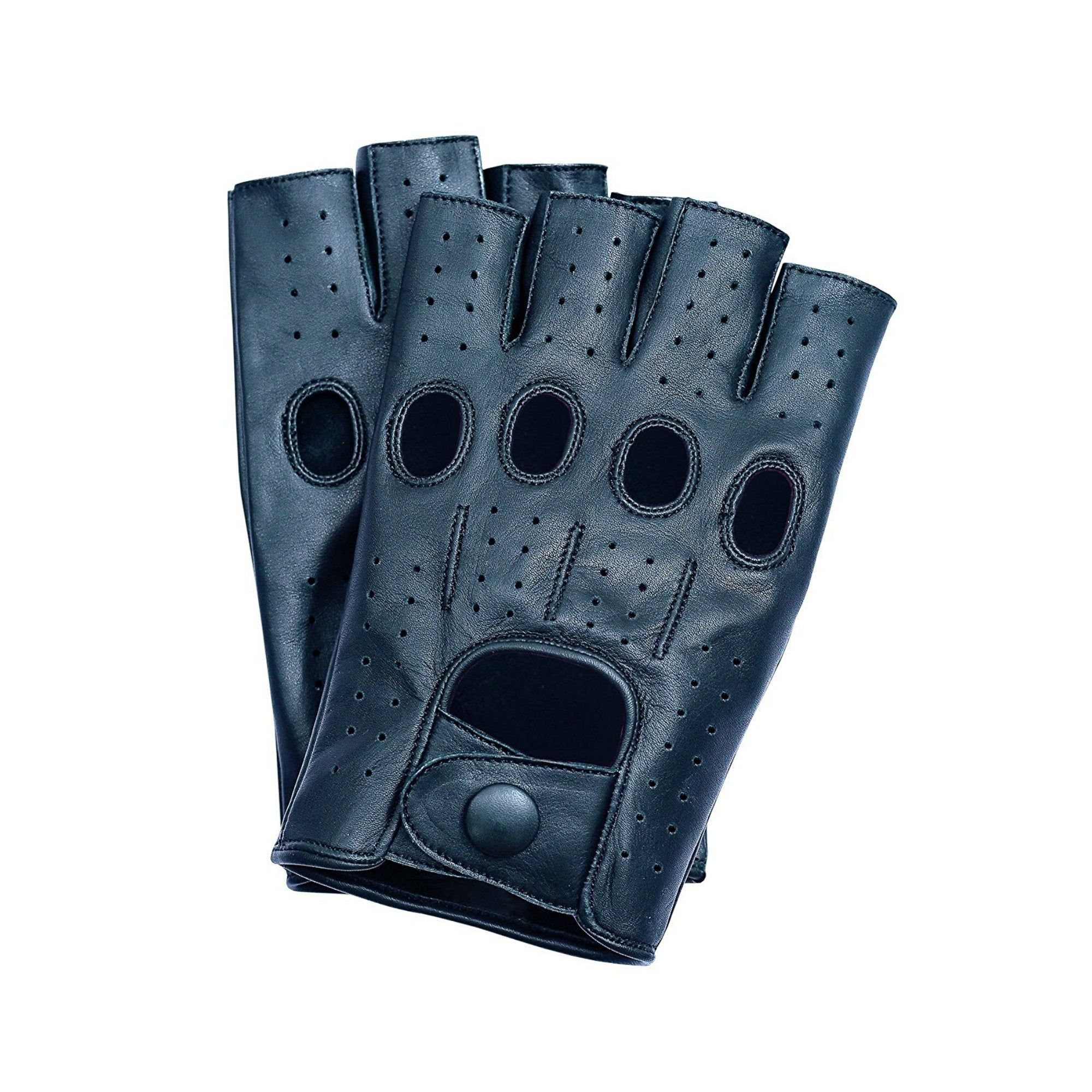 Black Mens Leather Reverse Stitched Fingerless Half-Finger Driving Motorcycle Gloves