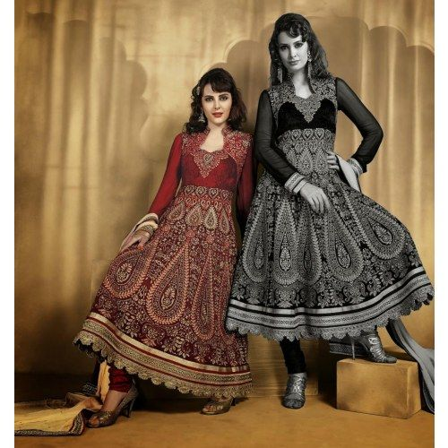Maroon and  Faux Georgette Anarkali Suits - Salwar Suit by ODFASHION