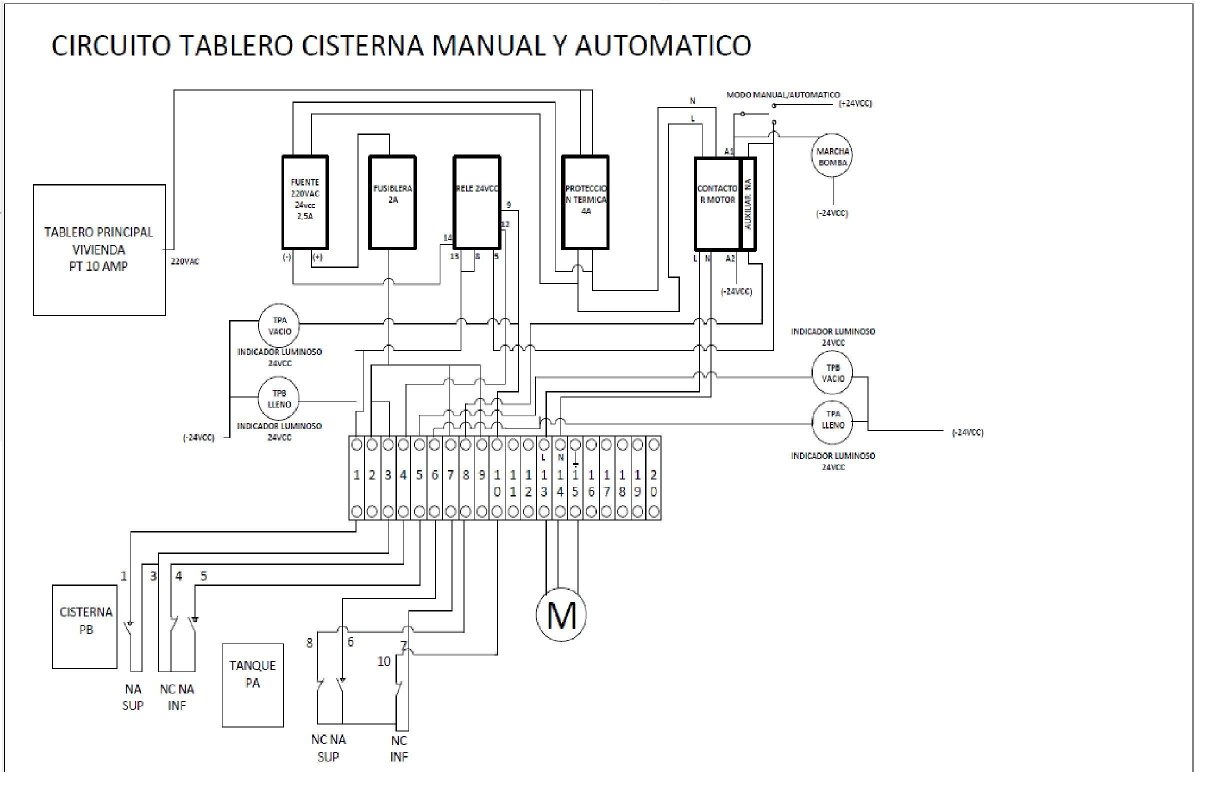 Circuito Sencillo : Circuito cisterna tanque de agua vivienda circuitos tanque de