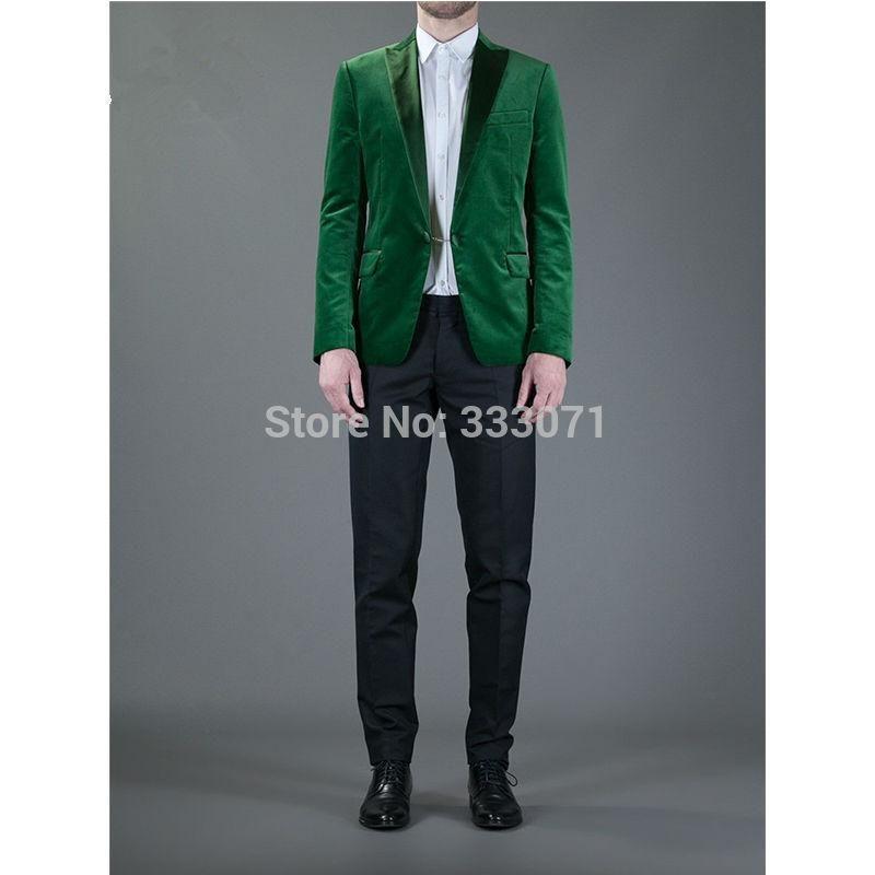 2016 Handsome Green Men Wedding Prom Suits Custom Made Slim Fit ...