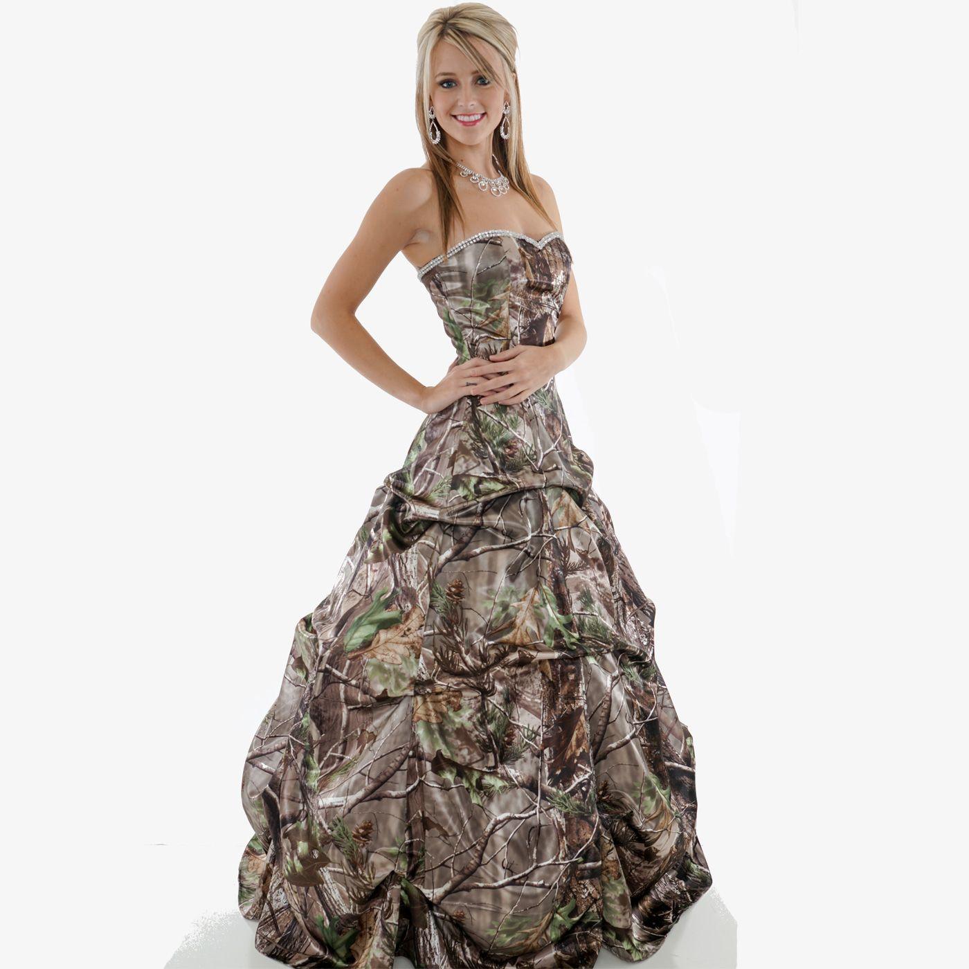 Blue camo wedding dresses  Realtree Camo Strapless Dress with Pickup Skirt and Rhinestone Trim