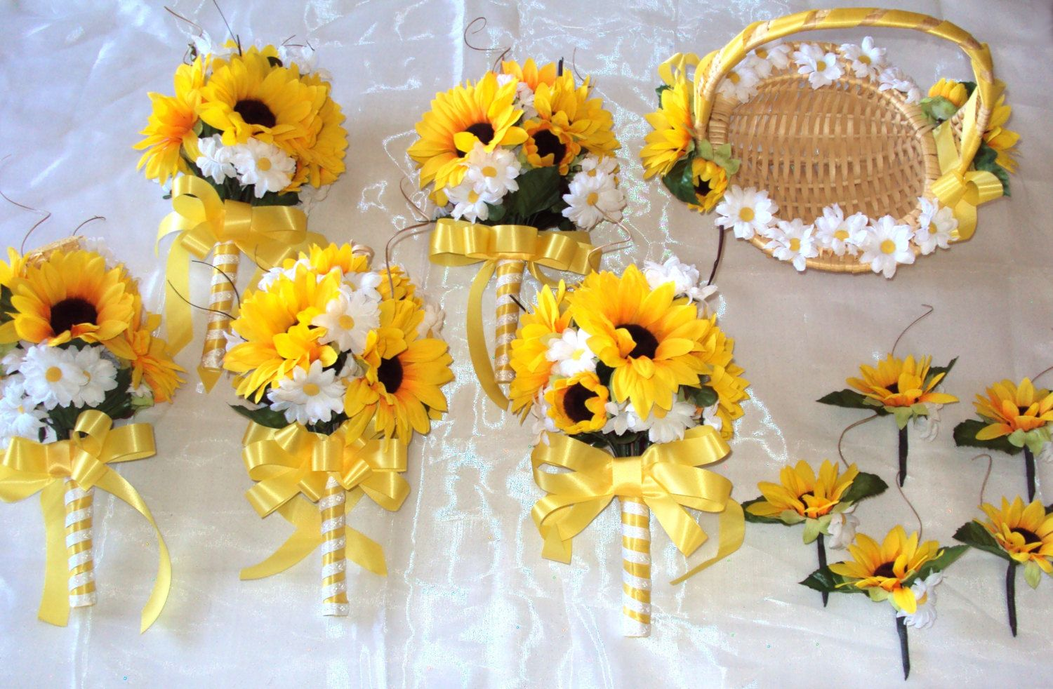 Wedding bouquets of sunflowers  Wedding Bouquet Set  Yellow Sunflower and White Daisy Country