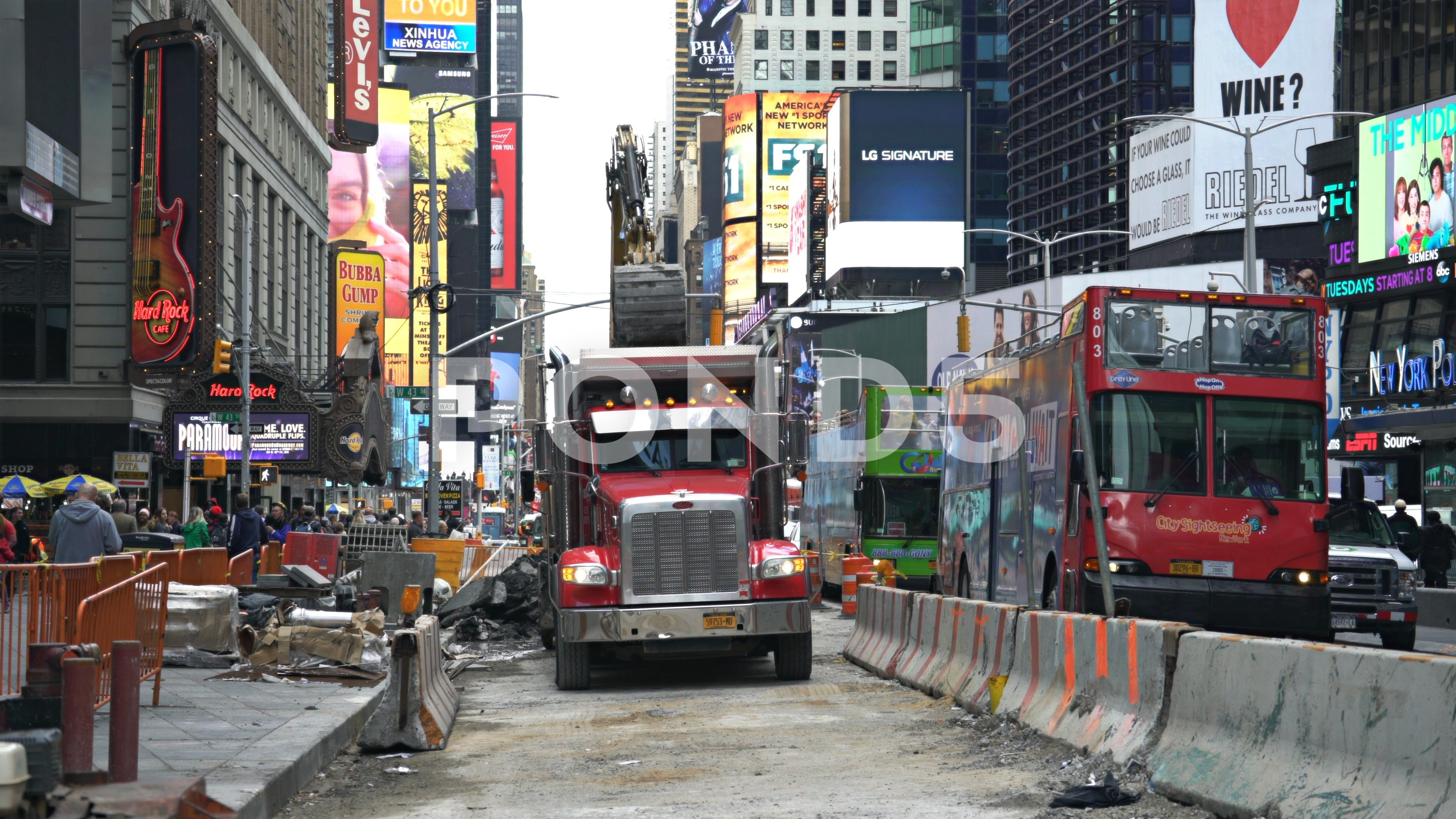 Road Construction In New York City Crowded Street Time Square