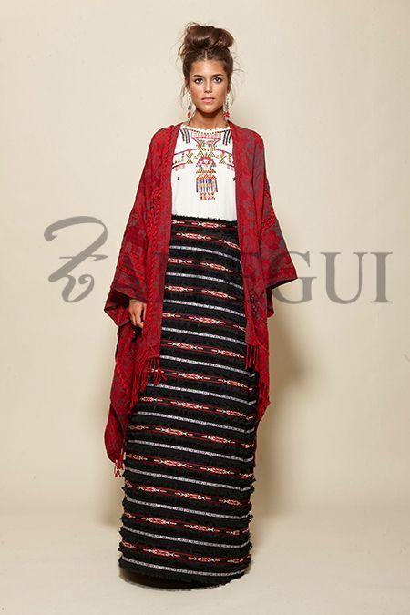 Poncho abierto en rojo y gris | Mexican Style | Fashion ...