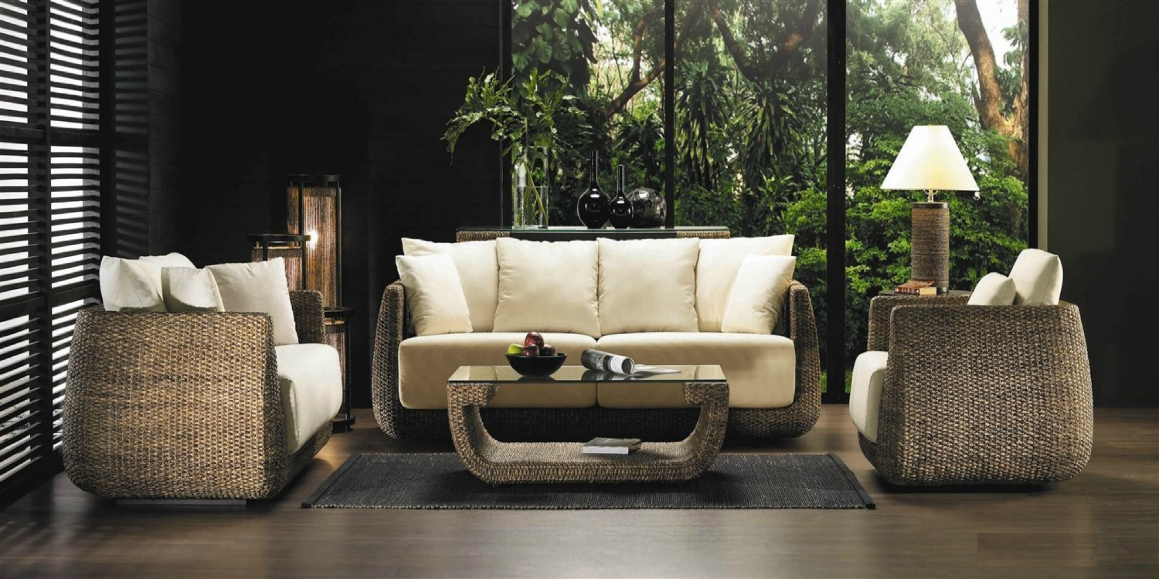 Strange Hyacinth Real Wicker 4 Piece Indoor Furniture Set W Sofa Ncnpc Chair Design For Home Ncnpcorg