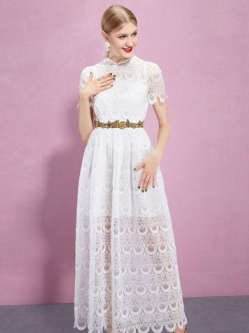 Vestido De Fiesta De Encaje Cuello Alto Manga Corta Blanco | Choies ...