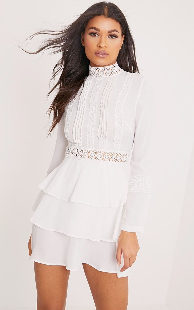 Hope White Crochet Lace High Neck Ruffle Swing Dress Dresses White Ruffle Dress Swing Dress