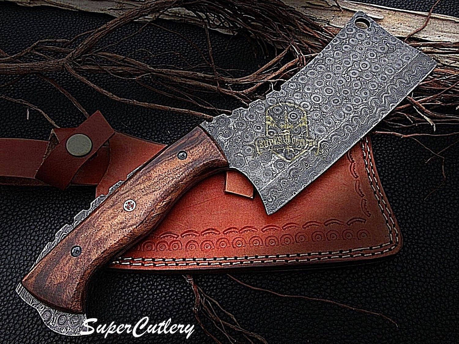 Details About Handmade Damascus Steel Cleaver Meat Chopper