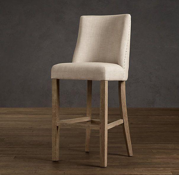 1940s French Upholstered Barrelback Barstool Upholstered Stool Upholstered Bar Stools Kitchen Bar Stools