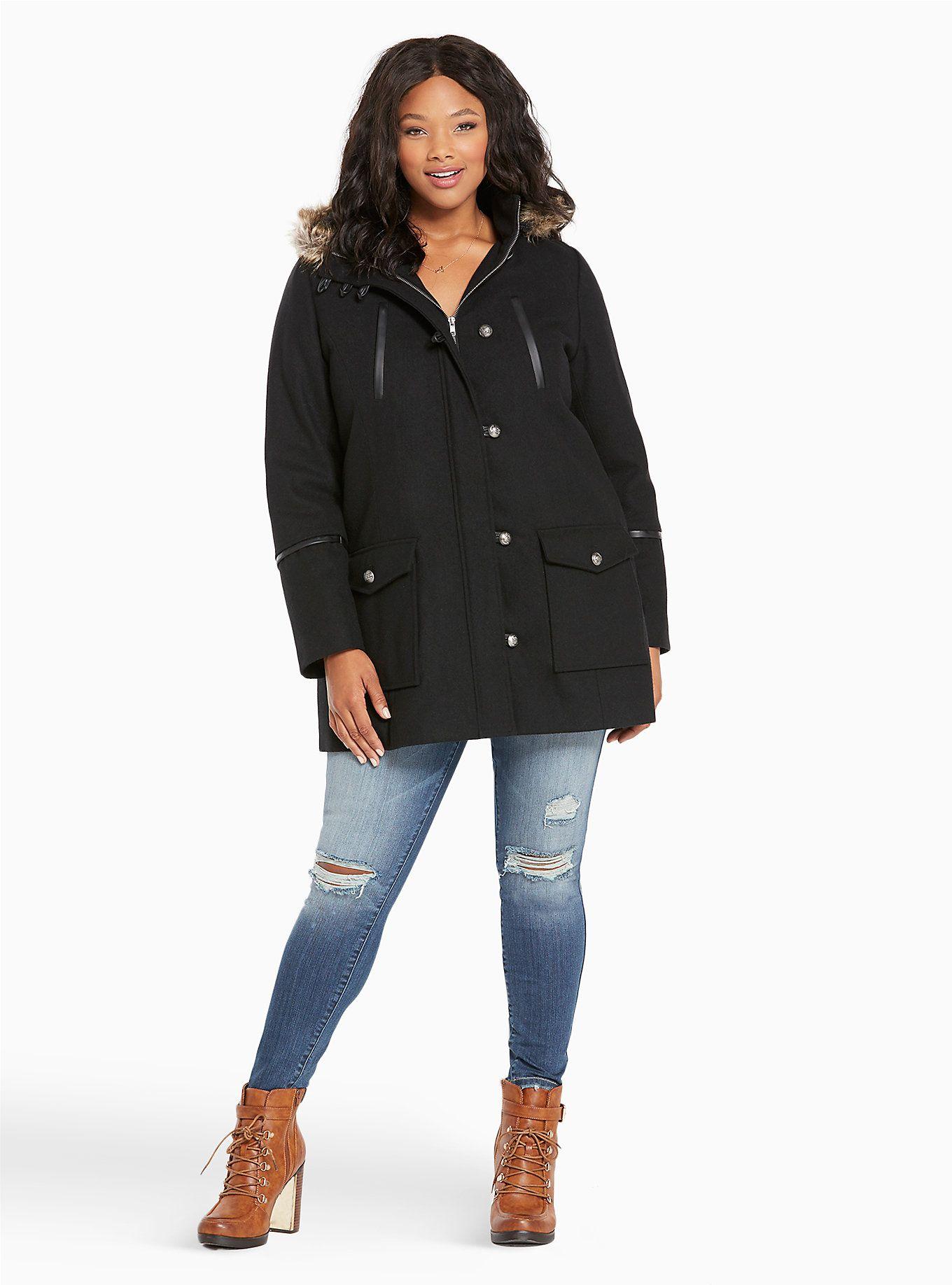Faux Fur Hood Wool Coat Faux fur hood, Wool coat, Coat