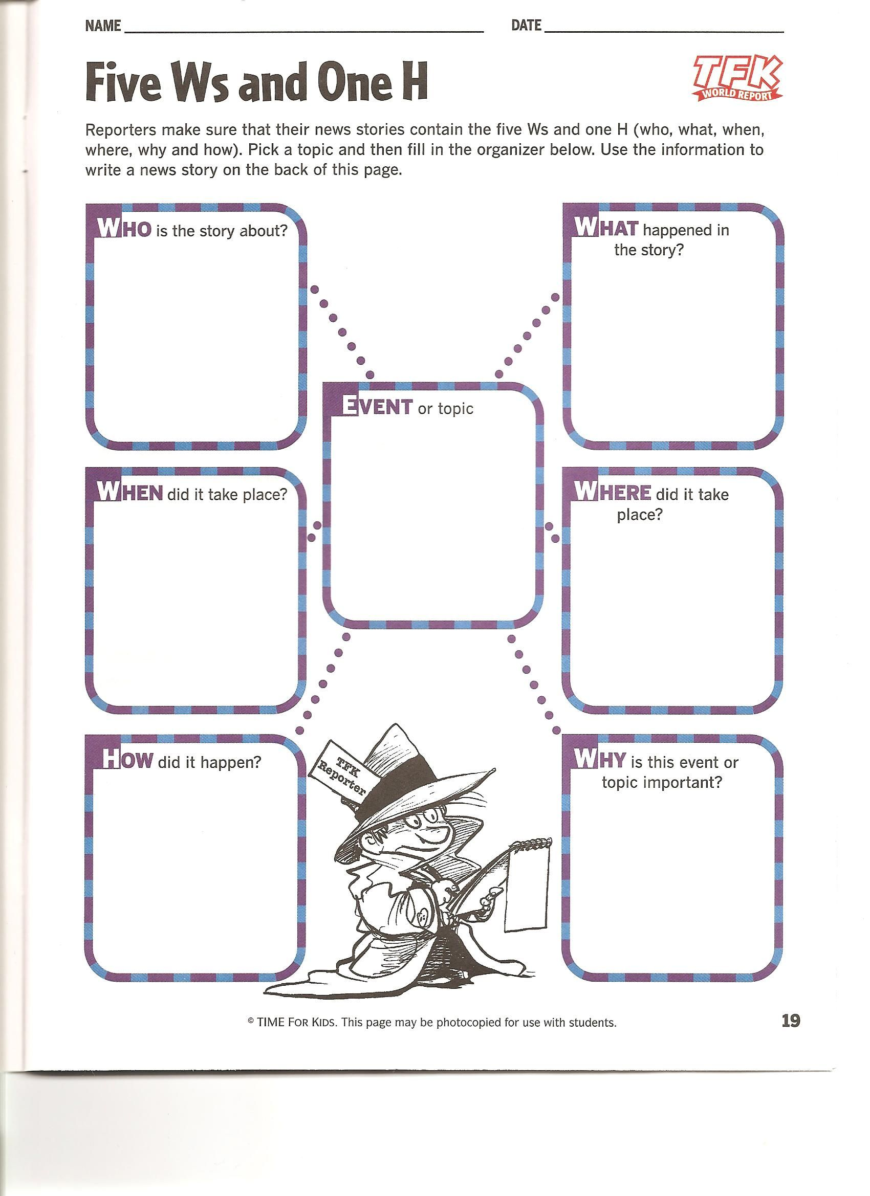 worksheet 5 W S Worksheet 5 ws graphic organizers course documents 5th grade pinterest documents