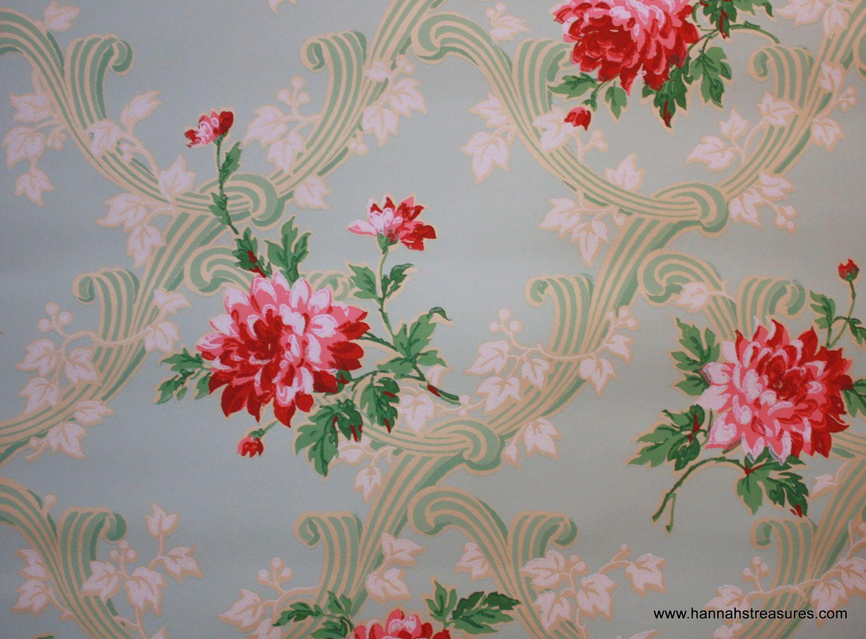 1930s Vintage Wallpaper Dark Pink Floral On By Hannahstreasures