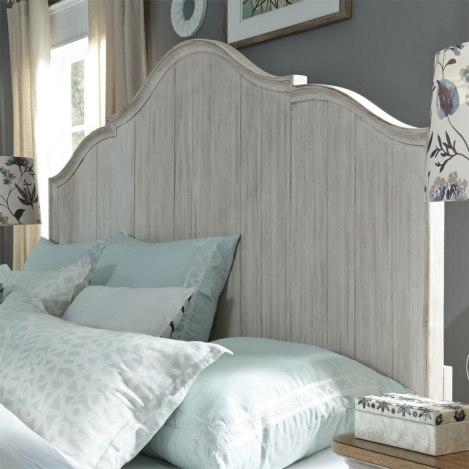 Farmhouse Reimagined Antique White King Panel Headboard Beige