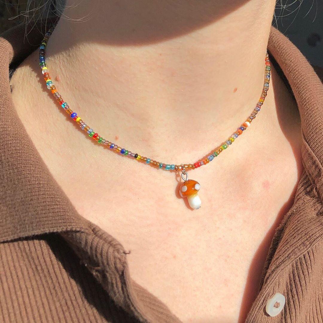 "chloe on Instagram: ""finally restocked the beaded mushroom necklace 🍄🧚🏼♂️ link in bio"