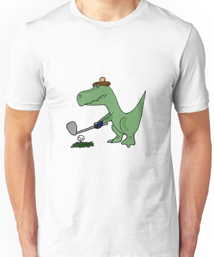 0d492932 Cool Funky Green T-Rex Dinosaur Playing Golf Unisex T-Shirt #HowToPlayGolf?  #PlayingGolfTips