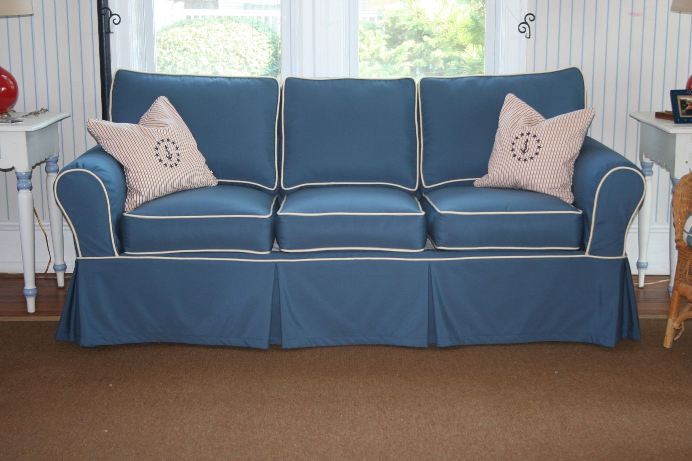 Sofa Slipcover Using Sunbrella Sapphire Blue With Vellum Cording Nautical  And Fun Pillows Too!