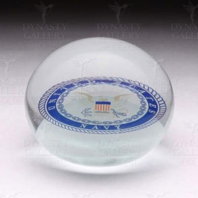 Crystal Paperweight Navy