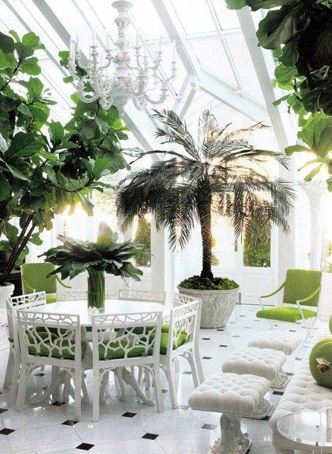 wintergarten pflanzen palmen bodenfliesen weiße möbel grüne kissen - tipps pflege pflanzen wintergarten