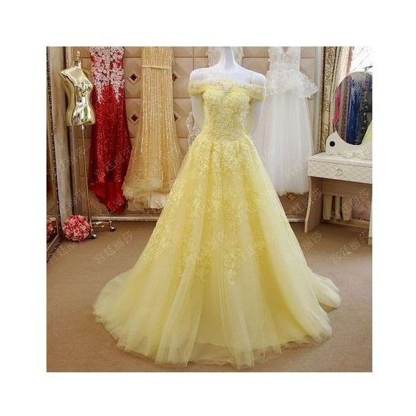 1b478ebb522 Petite Plus Size Yellow Lace Off the Shoulder Ball Gown Prom Dress S ❤ liked  on Polyvore featuring dresses