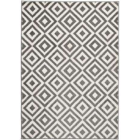 The Matrix Diamond Rug In Grey And White Is Hand Carved Which Helps Emphasise Modern