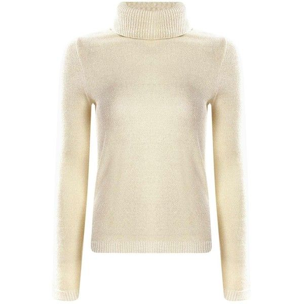 Amy Metallic Knit Roll Neck Jumper ($26) ❤ liked on Polyvore featuring tops, sweaters, metallic knit sweater, metallic sweater, knit sweater, jumpers sweaters and brown tops