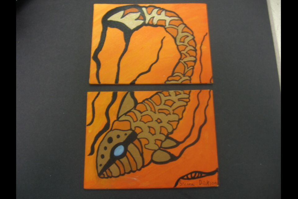 An interpretation of Aaron Paquette's  Goldenfish on  Two 5x7's