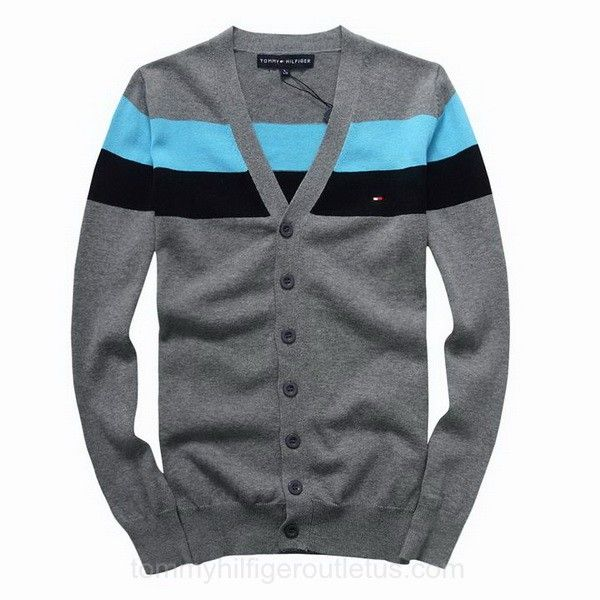 UK Mens Tommy Hilfiger Button Front Striped Cardigan Sweater Dark ...