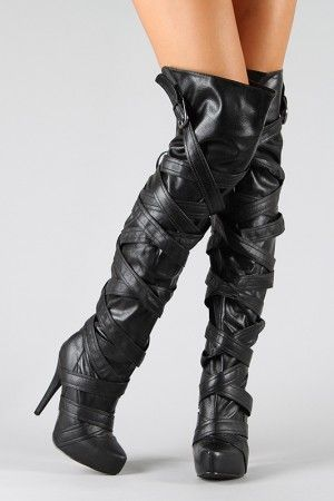 Qupid Nelson-83 Strappy Thigh High Boot