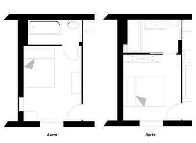 Plan restructuration d'une chambre avec salle de bains