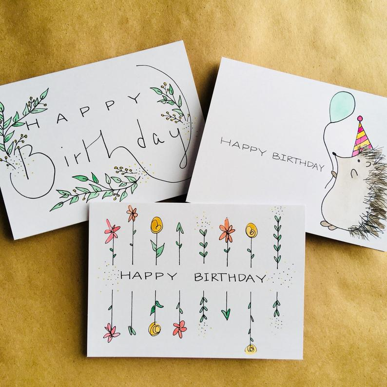 3 Pack Watercolor Birthday Cards In 2021 Calligraphy Birthday Card Hand Lettering Cards Simple Birthday Cards