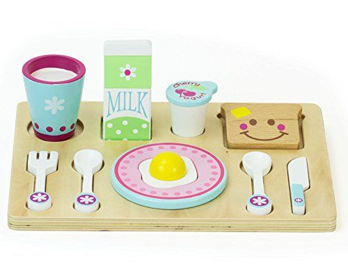 Remarkable Childrens Wooden Play Food Set Breakfast Set With Toast Home Interior And Landscaping Ymoonbapapsignezvosmurscom