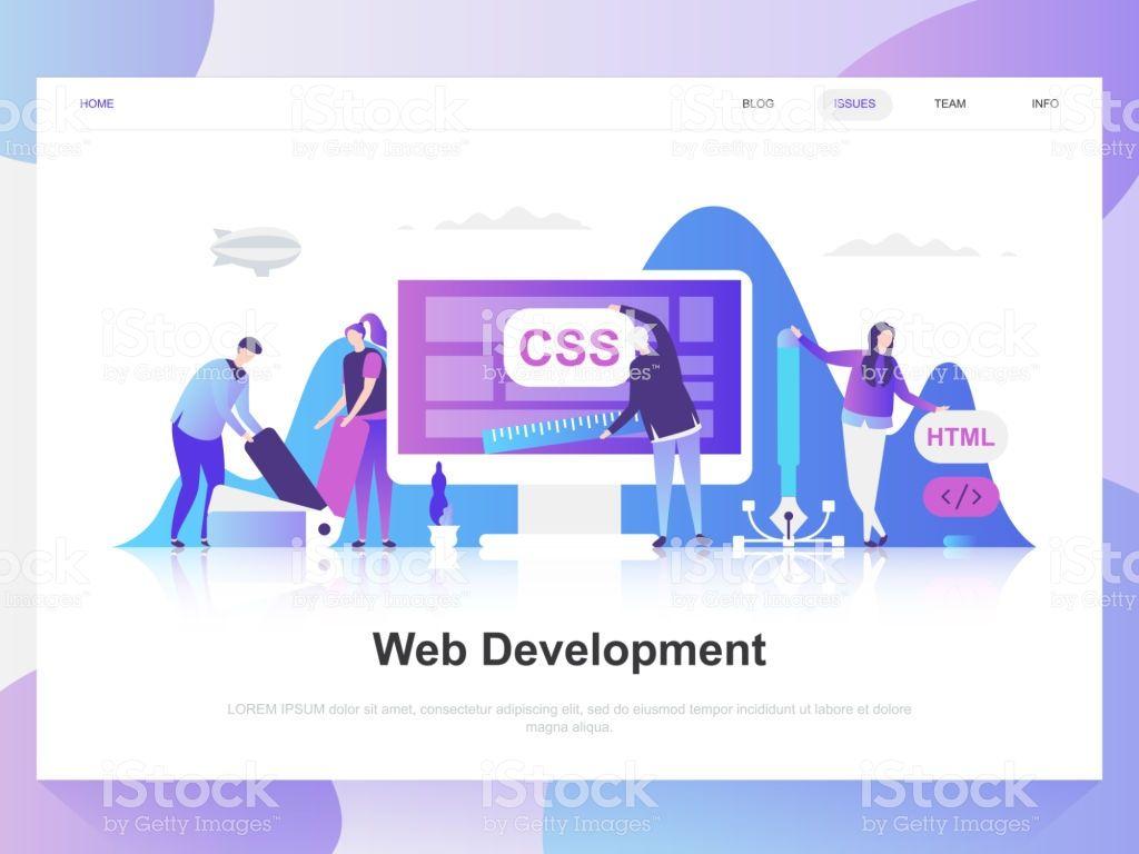 Web Development Modern Flat Design Concept Landing Page Template Web Development Concept Design Business Illustration