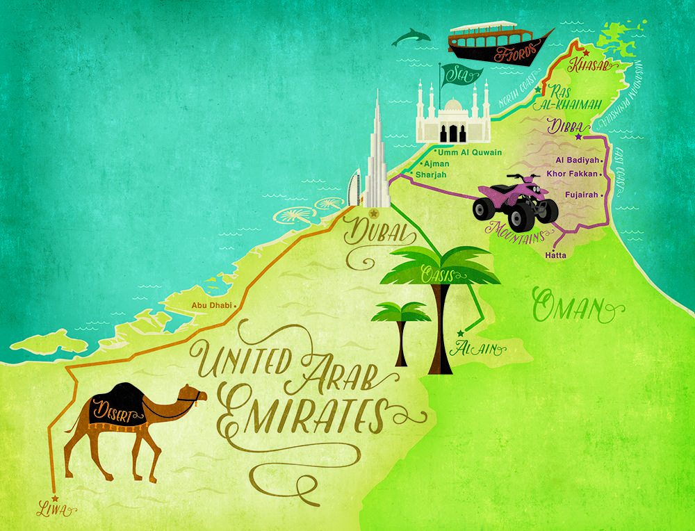 UAE road trip map Places to Visit