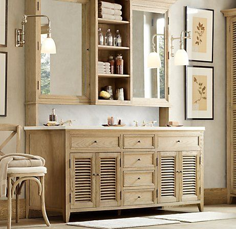 What To Put In Between Mirrors In Bathroom Love The Shelving