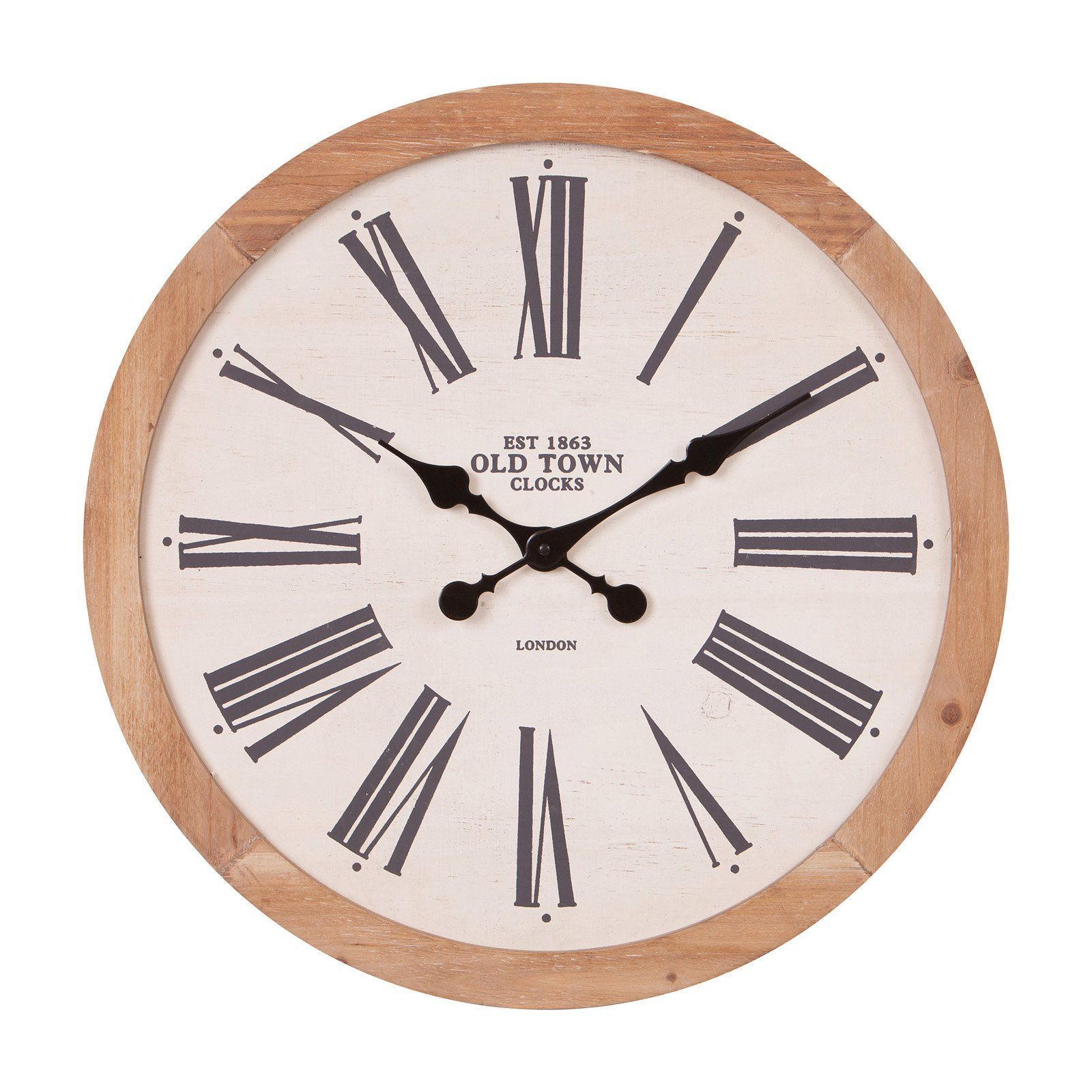 Nielsen Bainbridge Rustic Wood Old Town Roman Numeral 22 in. Wall Clock#bainbridge #clock #nielsen #numeral #roman #rustic #town #wall #wood
