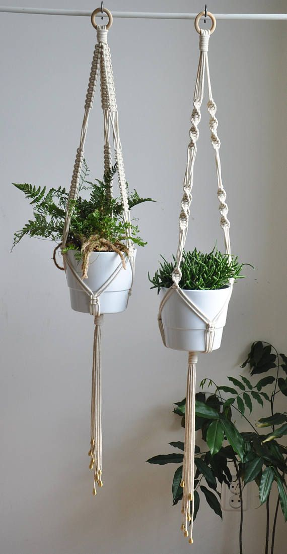 Set of 2 macrame plant hangers with gold beads, big pot, lenght 44 and 48 #macrame
