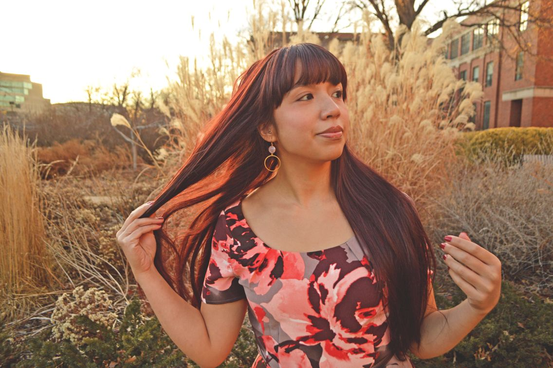 Mekita of RivasRaves.com looking gorgeous in her JES Design Studio Rose Chalcedony and Gold Hoops!  www.etsy.com/shop/JESDesignStudio