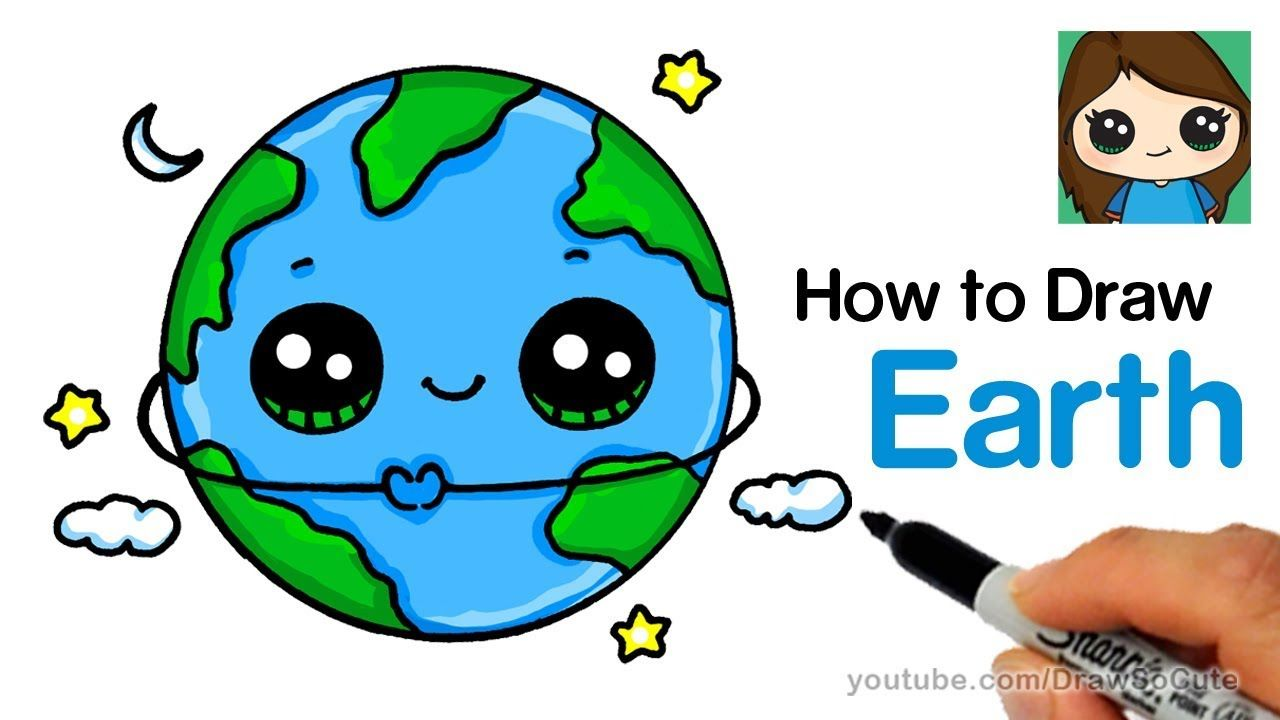 How To Draw Earth Easy And Cute Earth Drawings Kawaii Drawings Cute Kawaii Drawings
