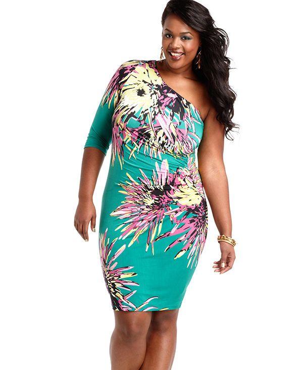 baby phat one shoulder dress plus size #unique_womens_fashion http