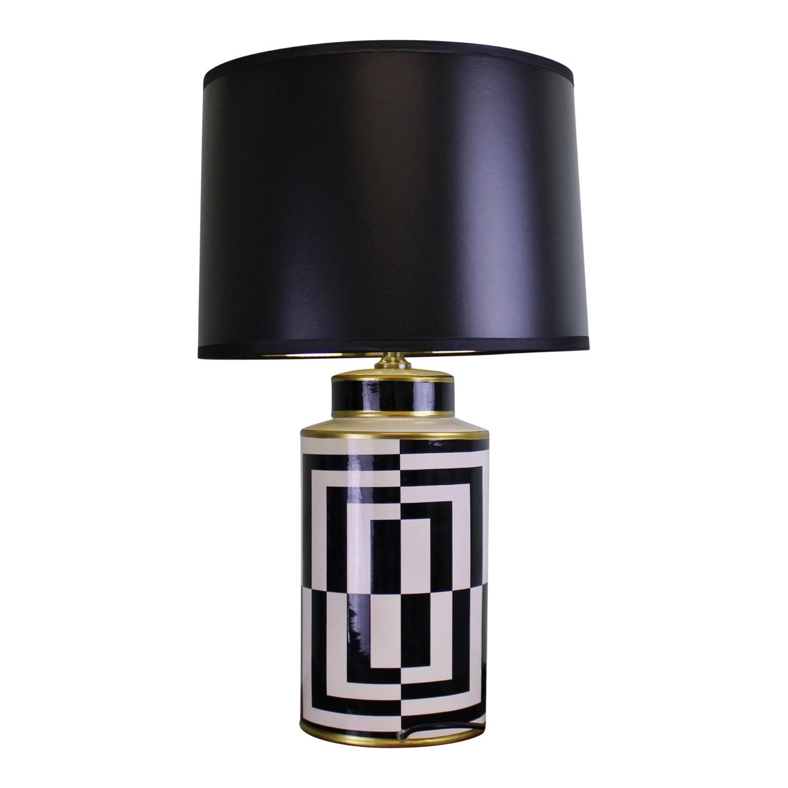 Photo of Black/White/Gold Ceramic Lamp, Geometric Design 66cm