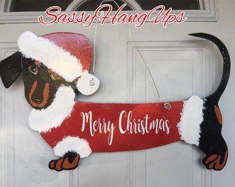 Diggy Christmas 2020 Hats Dachshund Door Hanger New Year Door Hanger Happy New Year   Etsy