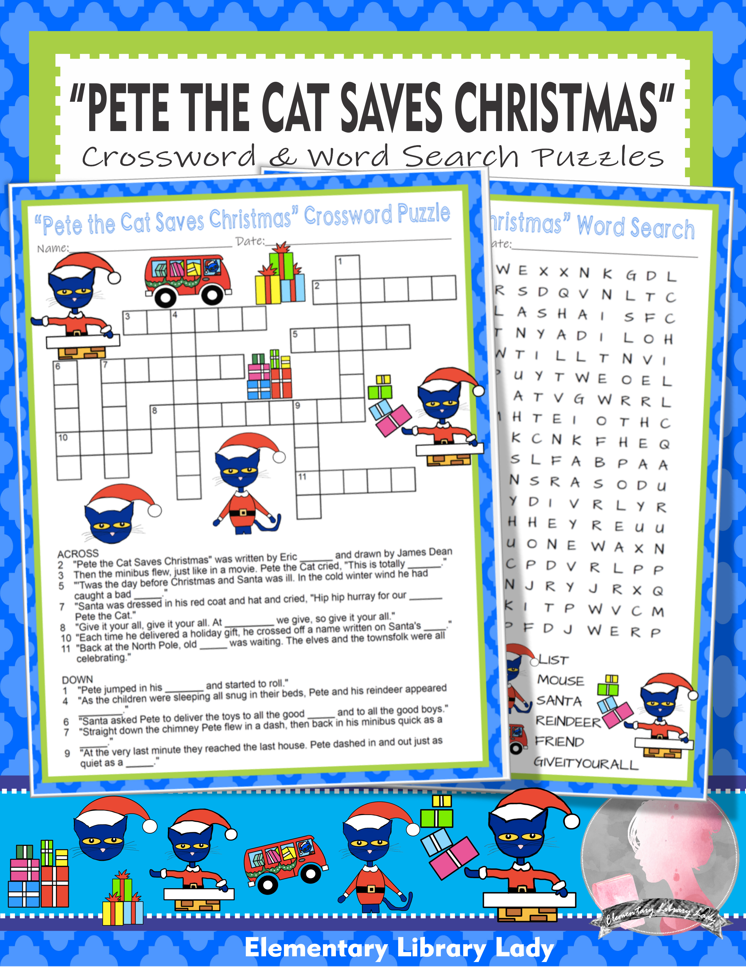 Pete The Cat Saves Christmas Activities Litwin Crossword