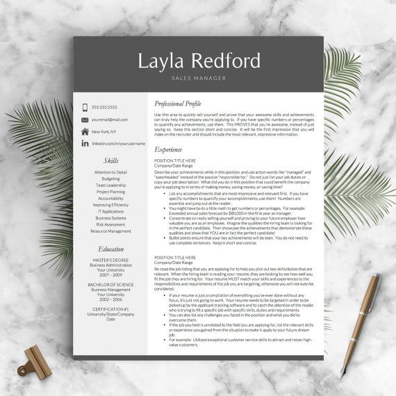 Professional Resume Template for Word and Mac Pages 1, 2 \ 3 - making resume in word