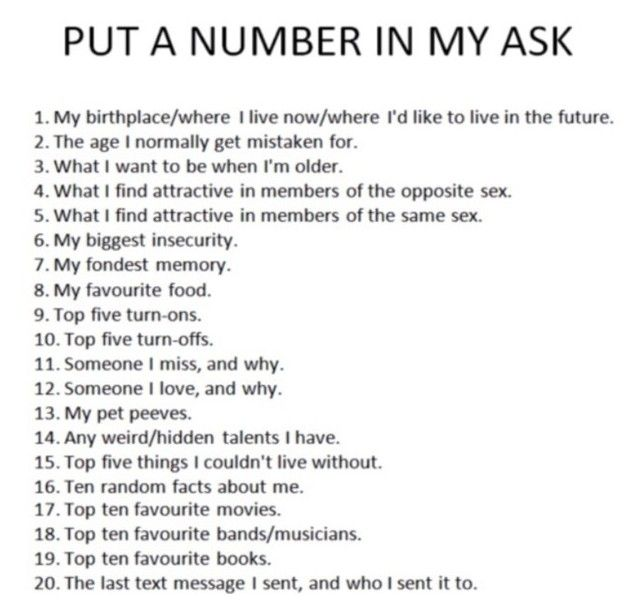 20 things about me questions
